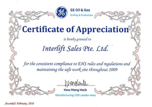 Certificate of Appreciation presented by GE Oil & Gas